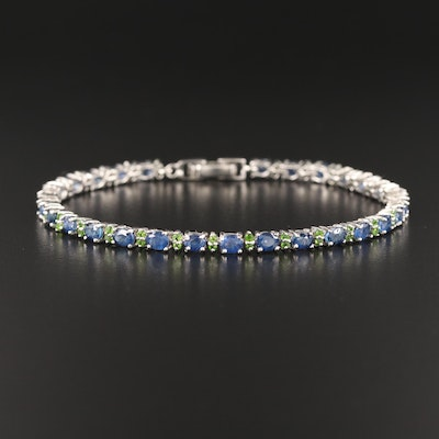 Sterling Sapphire and Diopside Bracelet