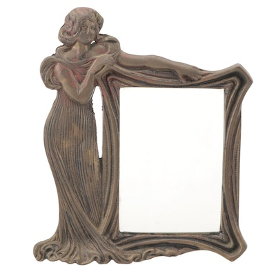 Art Nouveau Brass Tabletop Mirror with Bronze Patina