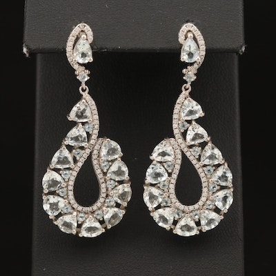 Sterling Aquamarine and Cubic Zirconia Drop Earrings