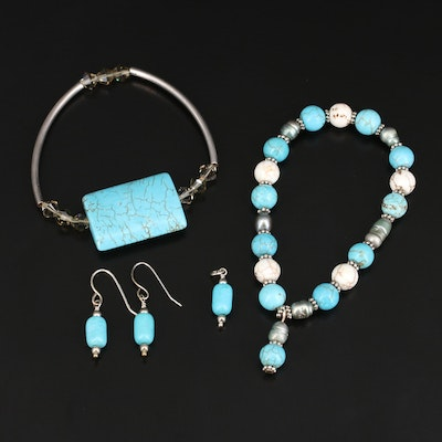 Sterling Bracelets and Pendant and Earring Set with Magnesite and Pearl