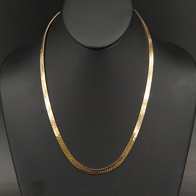 Italian 14K Herringbone Chain Necklace