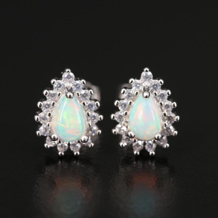 Sterling Opal and Cubic Zirconia Stud Earrings