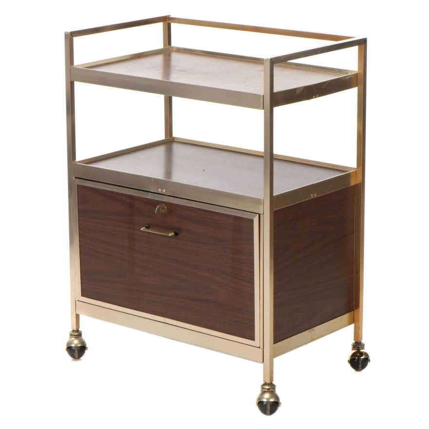 Modernist Brass-Tone Metal and Walnut-Grained Laminate Bar Cart