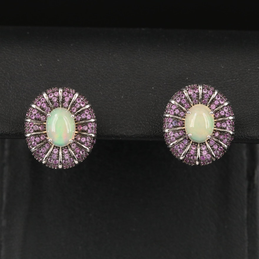 Sterling Opal and Sapphire Button Earrings