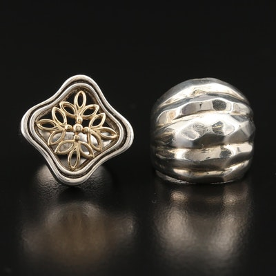 Sterling Rings with 10K Openwork Accent