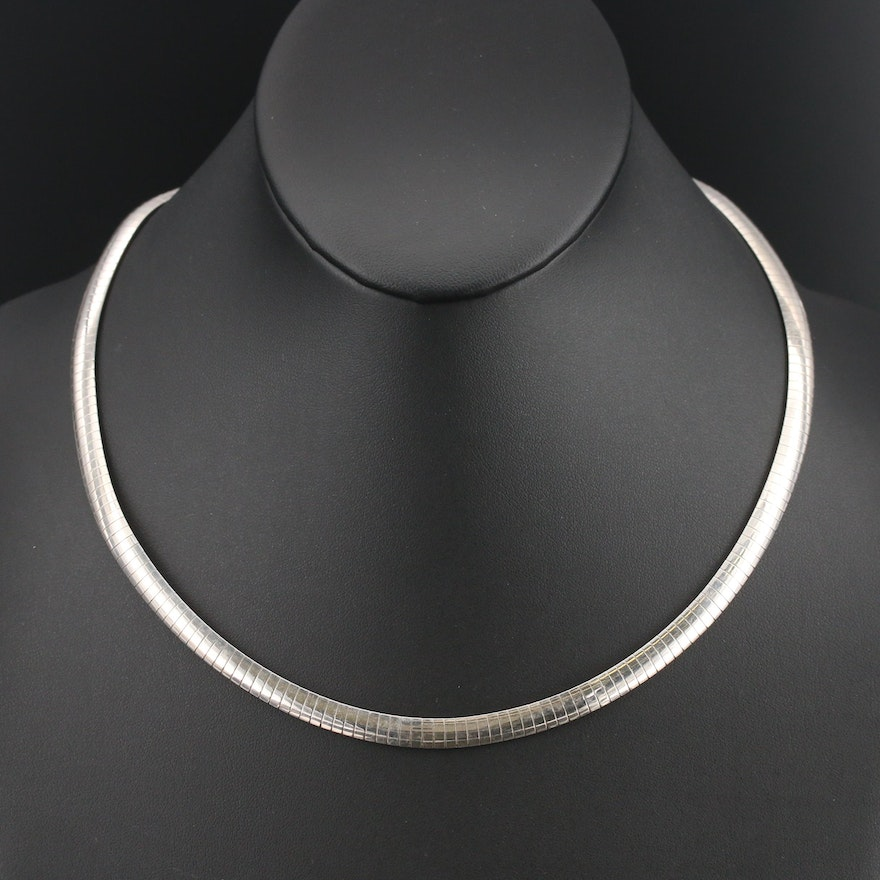 Italian Milor Sterling Omega Chain Necklace