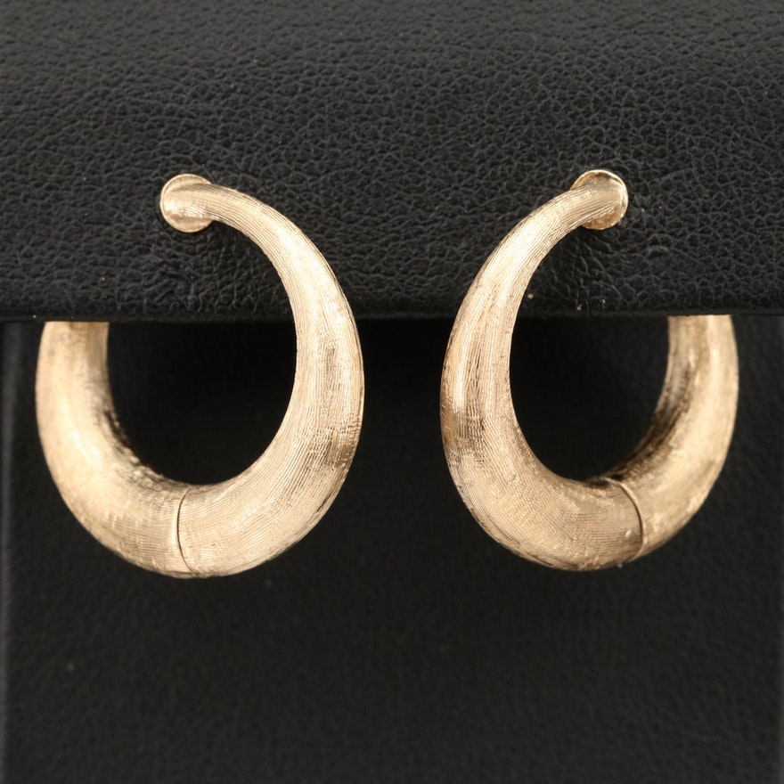 Circa 1950 Sloan & Co. 14K Non-Pierced Hoop Earrings with Textured Finish