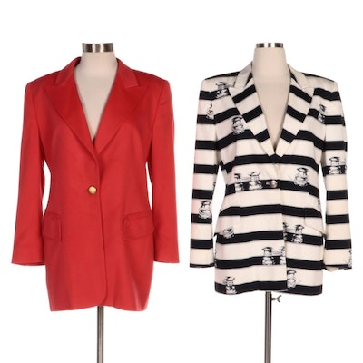 Escada Striped Nautical and Red Cashmere Suit Jackets