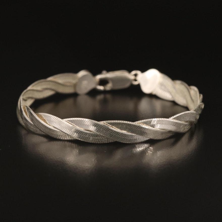 Italian Sterling Woven Herringbone Chain Bracelet