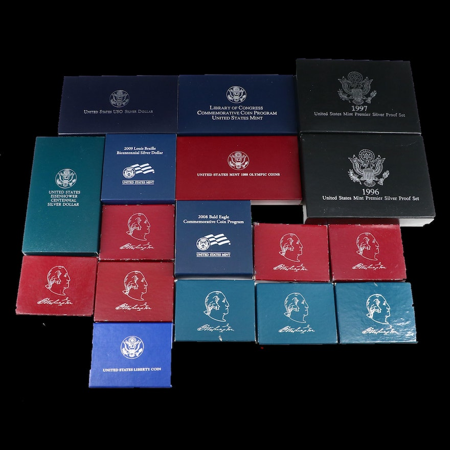 Seventeen U.S. Mint Coin Sets, Including Commemorative and Premier Silver Sets