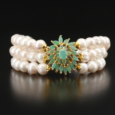 Sterling Triple Strand Pearl and Beryl Bracelet