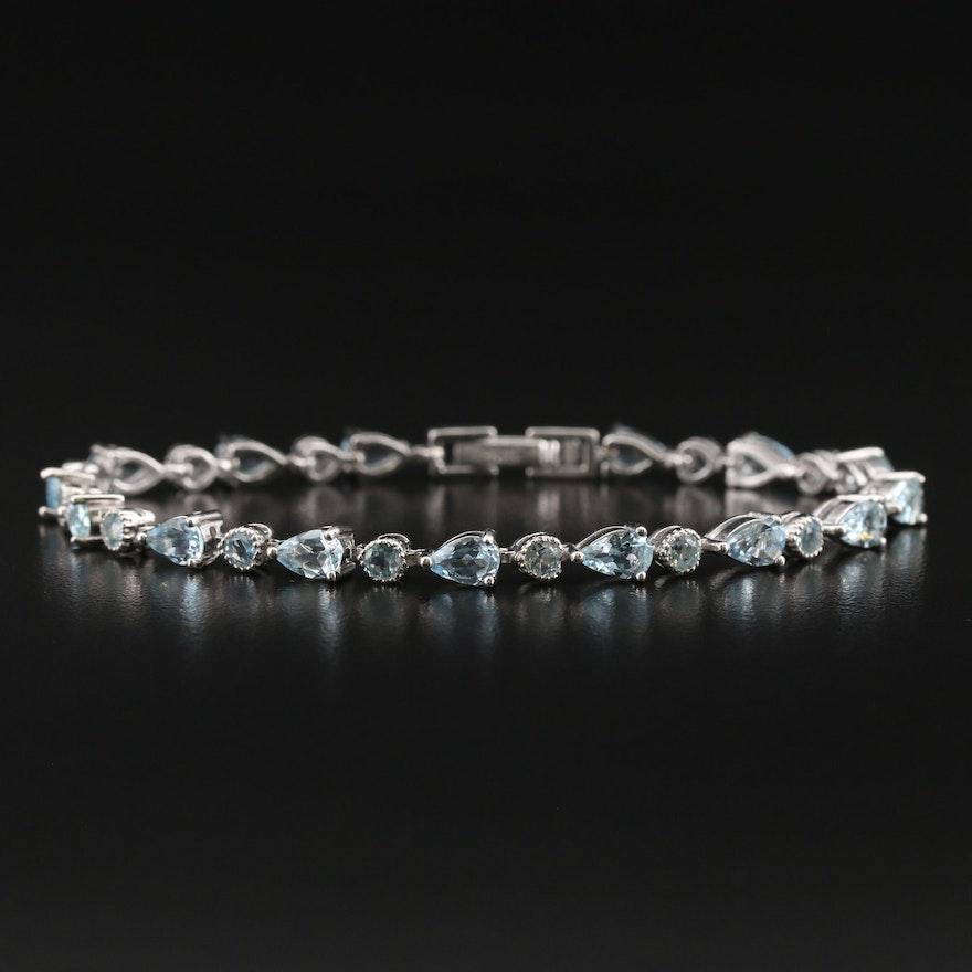 Sterling Aquamarne Link Bracelet
