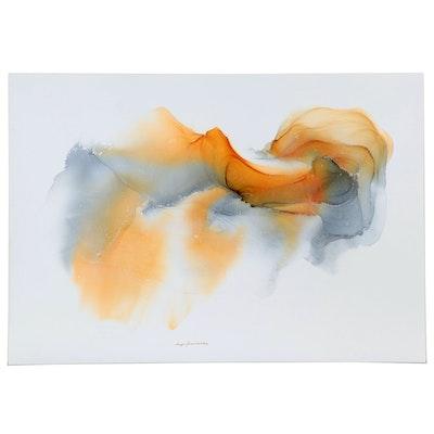 "Inga Kovalenko Abstract Ink Painting ""Number #45,"" 2021"