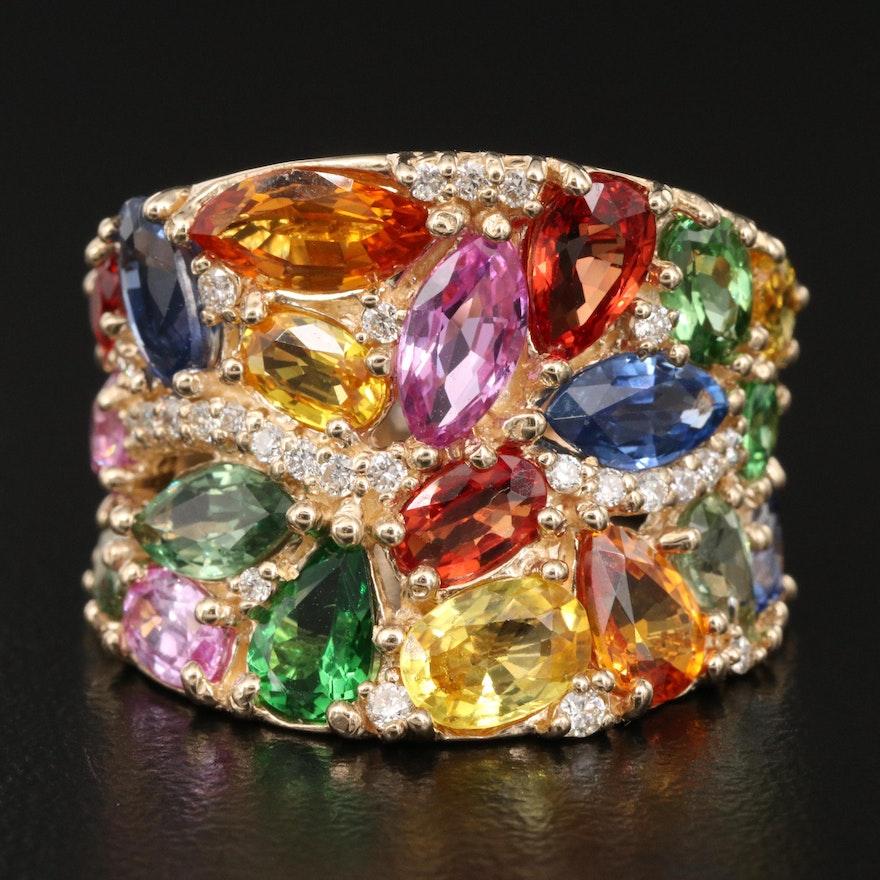 EFFY 14K Sapphire, Tsavorite and Diamond Concave Ring