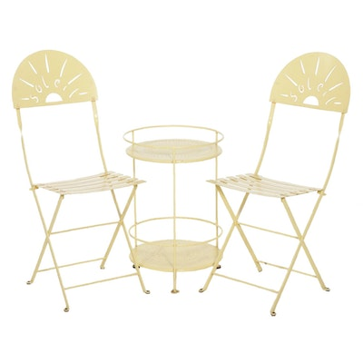 Fermob Soleil Painted Metal Patio Chairs and Table, Late 20th Century