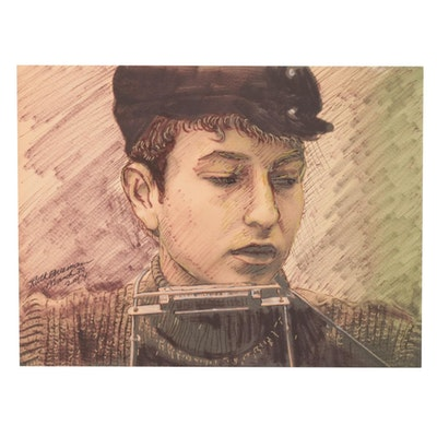 Ruth Freeman Drawing of Bob Dylan With Harmonica, 2014