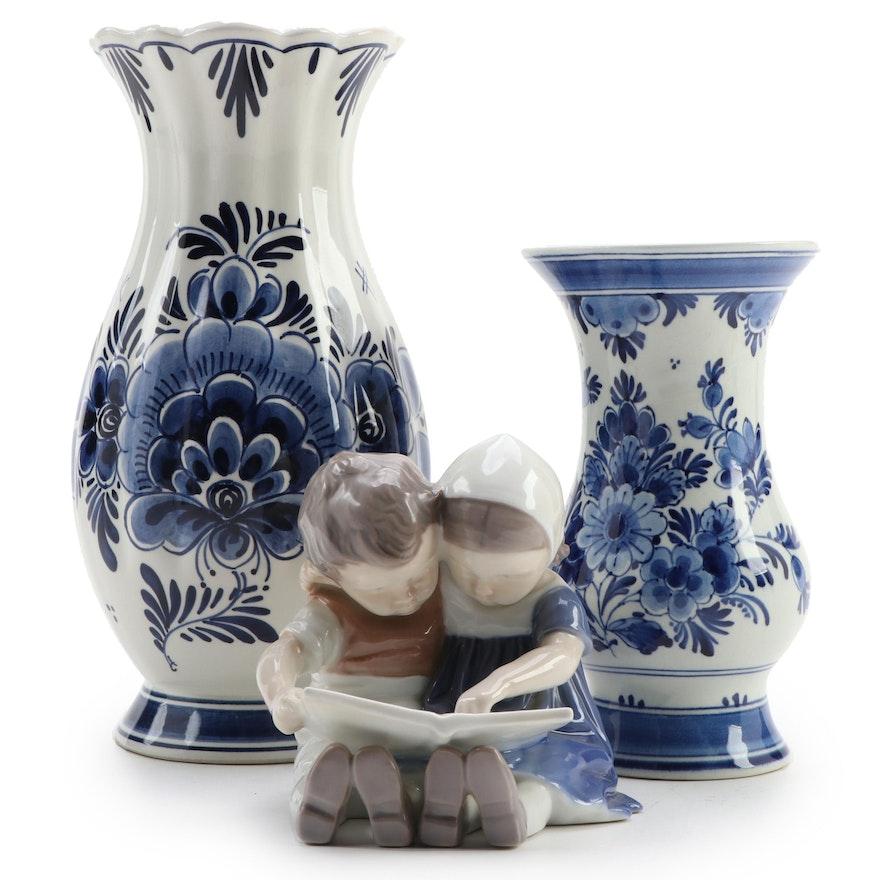 "Delfts Blue Vases with Bing & Grondahl ""Children Reading"" Figurine"