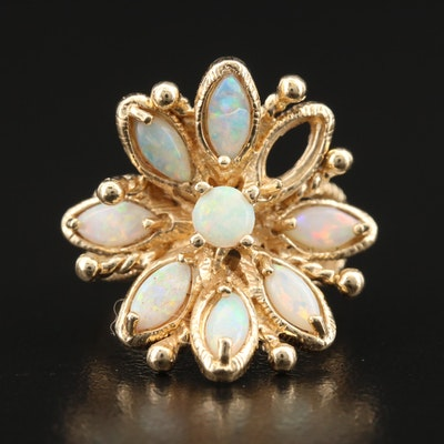 14K Opal Flower Cluster Ring