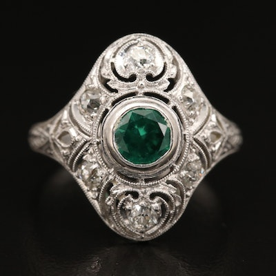Edwardian Platinum Spinel Openwork Ring with Laurel and Milgrain Detail
