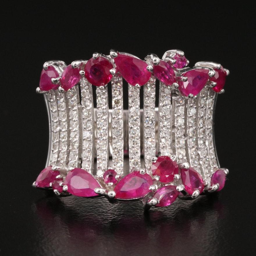 EFFY 14K Ruby and Diamond Saddle Ring