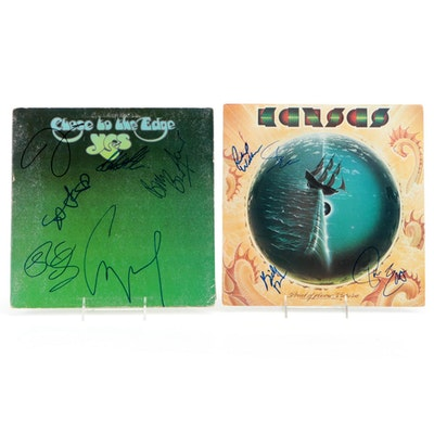 Yes and Kansas Autographed Vinyl LP Records with COAs and Photos