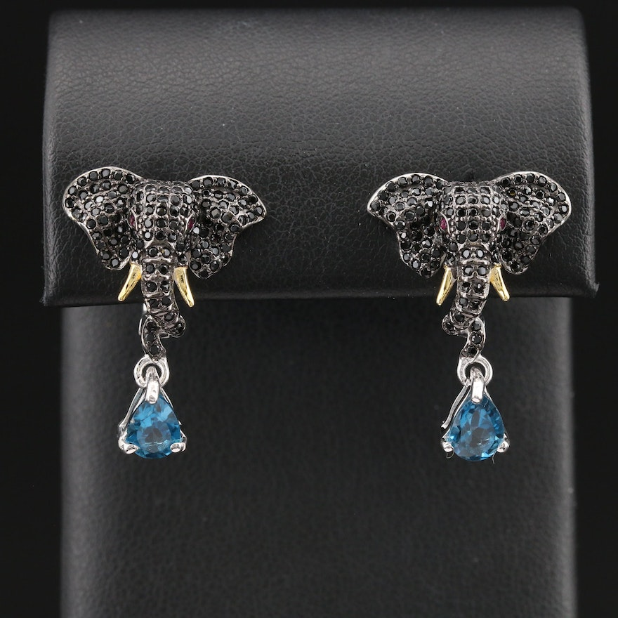 Sterling Topaz and Pavè Cubic Zirconia Elephant Earrings