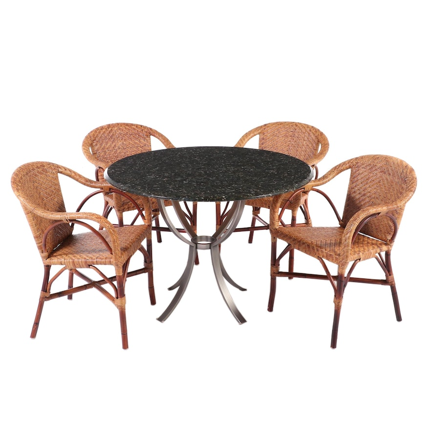Five-Piece Granite Top Metal Table and Wicker Chair Dining Set