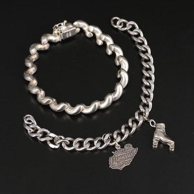 Sterling San Marco Bracelet with Curb Link Charm Bracelet