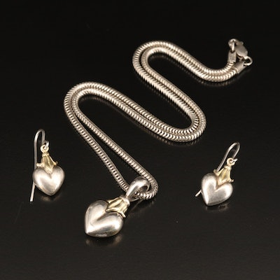 "Lagos Caviar ""Arcadian"" Sterling Heart Necklace and Earrings with 18K Accents"