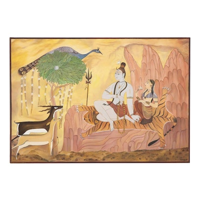 "Veena Bansal Oil Painting ""Siva and Pãrvati in Landscape,"" 2004"