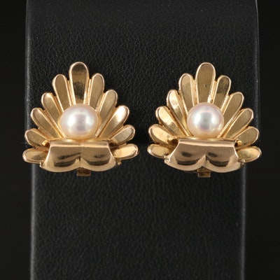 Vintage 14K Rococo Revival Pearl Clip Earrings