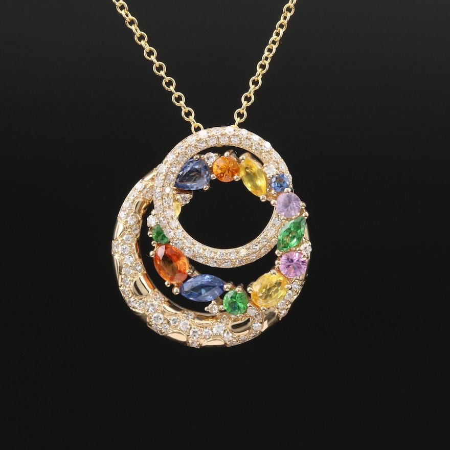 EFFY 14K Diamond and Gemstone Interlocking Circles Pendant Necklace