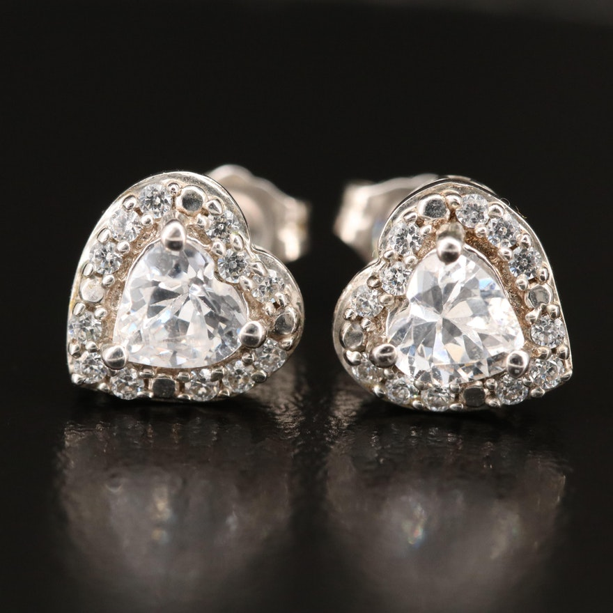 Sterling Heart Stud Earrings with Cubic Zirconia