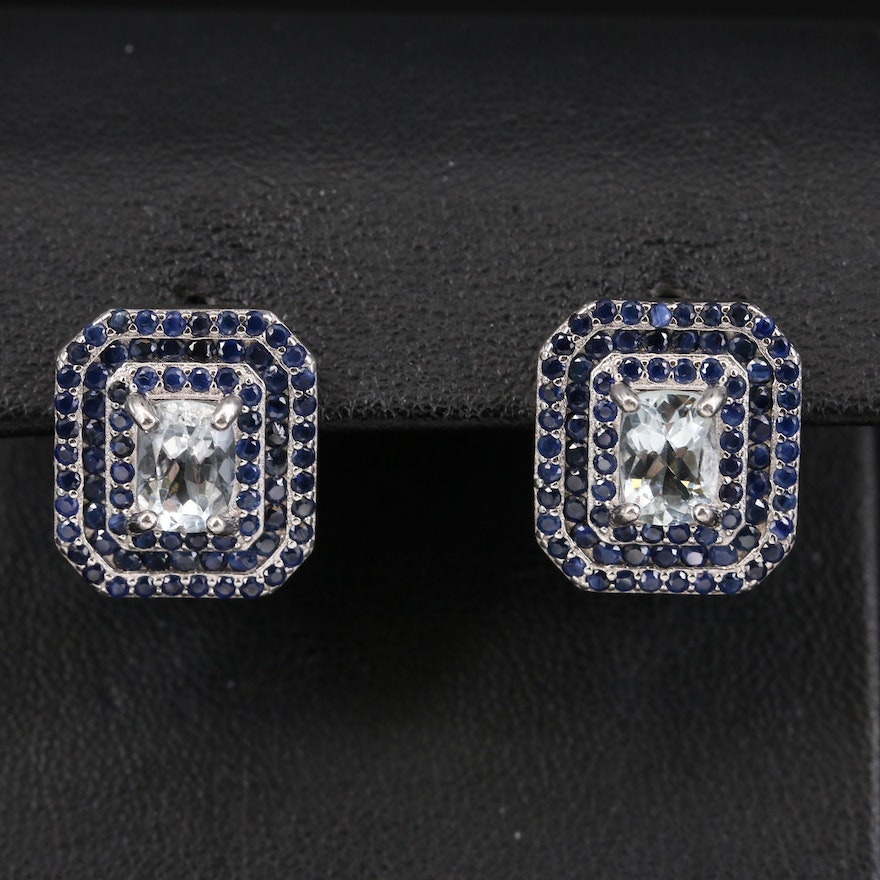 Sterling Aquamarine and Sapphire Earrings
