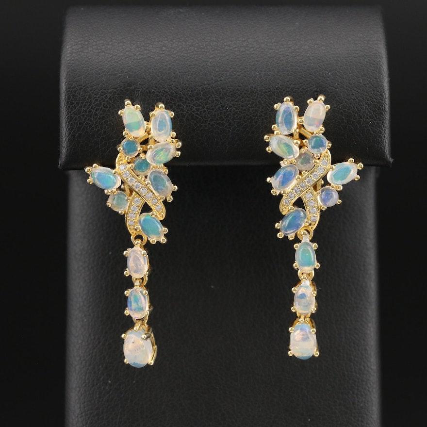 Sterling Opal and Cubic Zirconia Cascade Earrings
