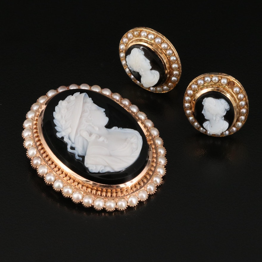 Victorian 14K Onyx and Pearl Cameo Brooch and Clip Earring Set