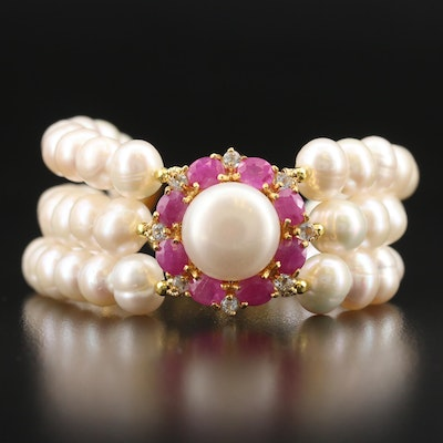 Sterling Triple Strand Pearl, Corundum and Topaz Bracelet