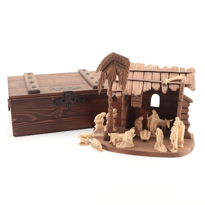 West German Hand-Carved Wood Nativity Set with Case, Mid/Late 20th Century