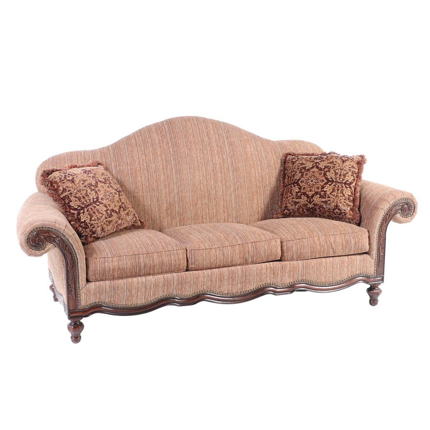 Thomasville Upholstered Rolled Arm Sofa with Nail Tack Detailing