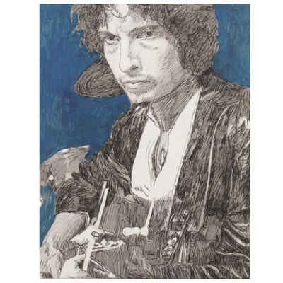 Giclée after Ruth Freeman of Bob Dylan with Guitar, 21st Century