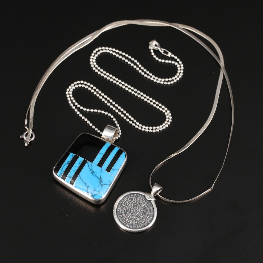 Mexican and Peruvian Sterling Reversible Inlay and Symbol Necklaces