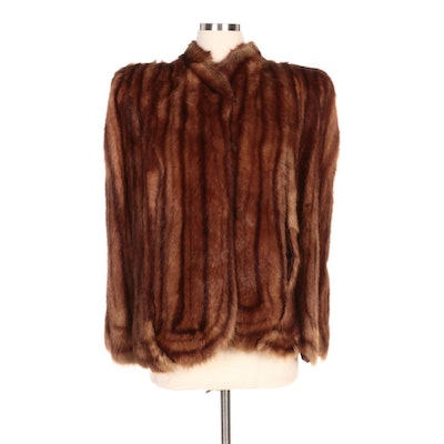 Dyed Muskrat Fur Scalloped Cape for Carolyn New York