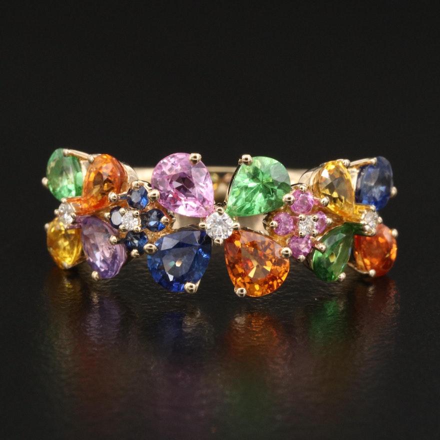 EFFY 14K Sapphire, Tsavorite and Diamond Ring