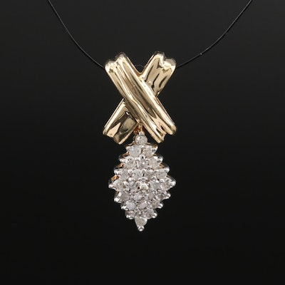 10K Articulated Diamond Cluster Pendant
