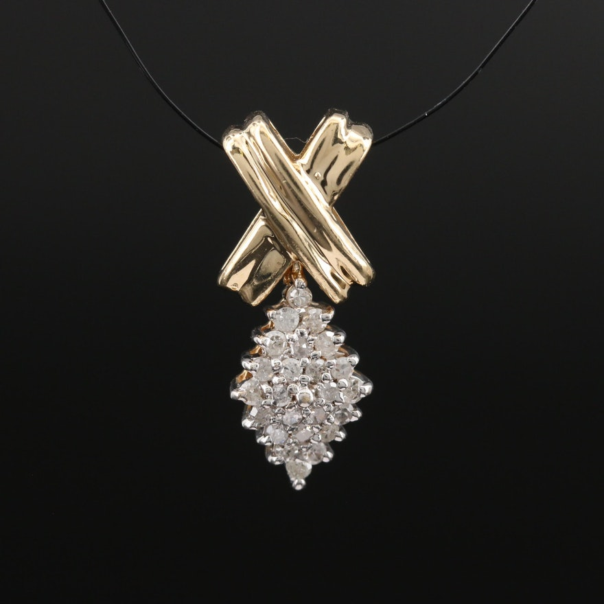 10K Articulated Diamond Cluster Pendant