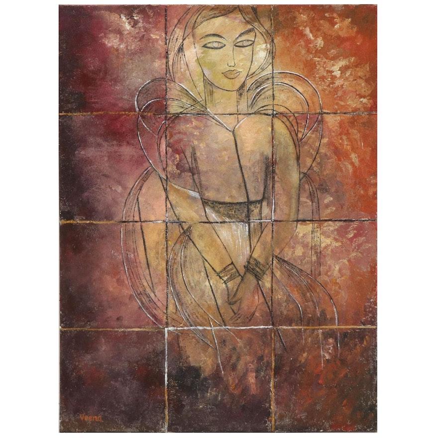 Veena Bansal Mixed Media Painting of Seated Figure, circa 2000