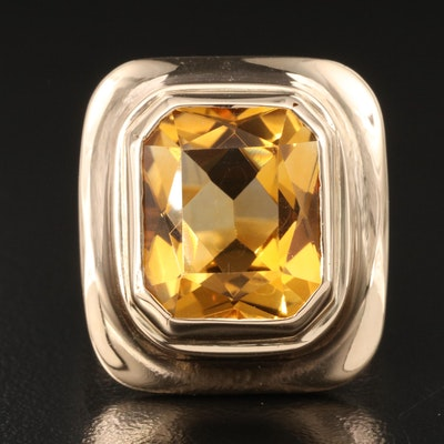 Vintage 14K 9.02 CT Citrine Ring