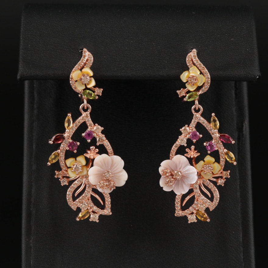 Sterling Tourmaline, Rhodolite Garnet and Mother of Pearl Floral Earrings