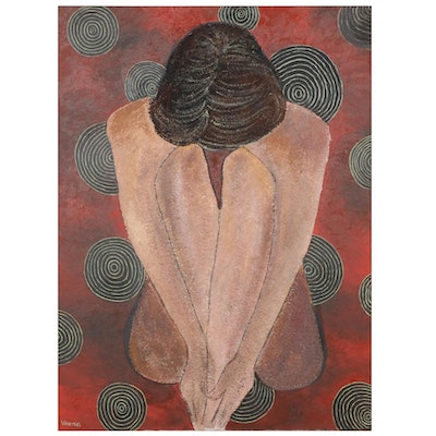 Veena Bansal Mixed Media Painting of Seated Nude, circa 2000