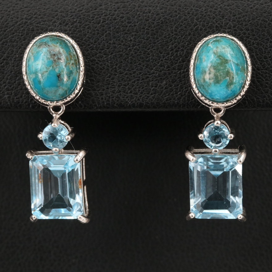 Sterling Turquoise and Topaz Earrings